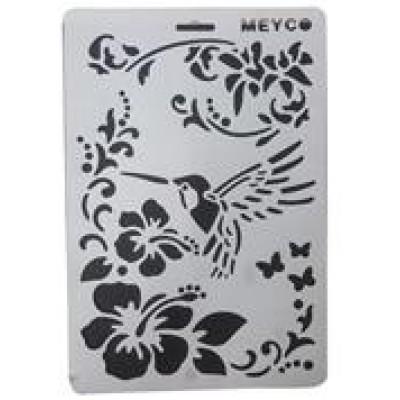 Decouprint Στένσιλ Α4 Λουλούδια-πουλί N118